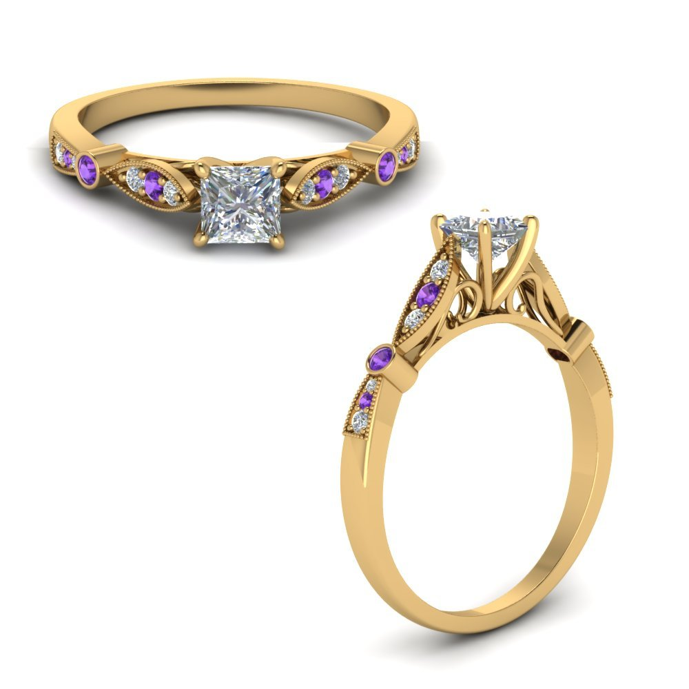 Delicate Art Deco Princess Diamond Engagement Ring With Violet Topaz In 18K Yellow Gold