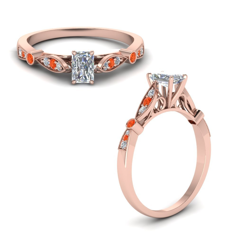 Delicate Art Deco Radiant Diamond Engagement Ring With Orange Topaz In 18K Rose Gold
