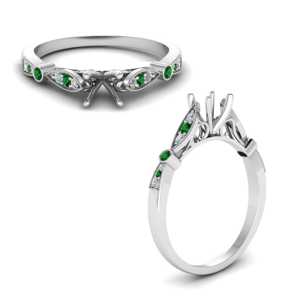 Delicate Art Deco Round Diamond Engagement Ring With Emerald In 14K White Gold