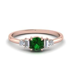 Delicate Baguette Diamond Ring With Emerald