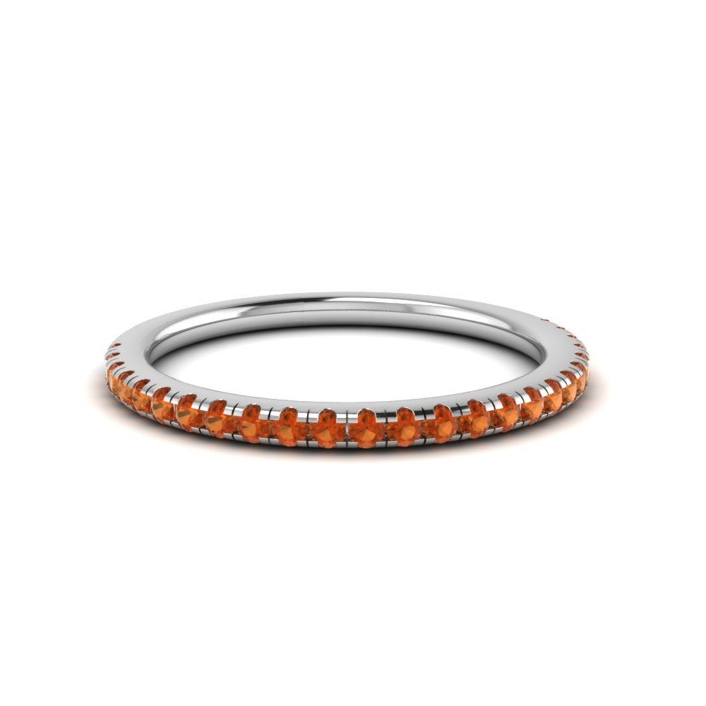 Delicate Anniversary Band With Orange Sapphire In 14K White Gold