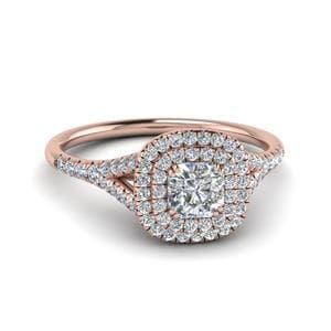 Delicate Double Halo Radiant Diamond Engagement Ring In 18K Rose Gold