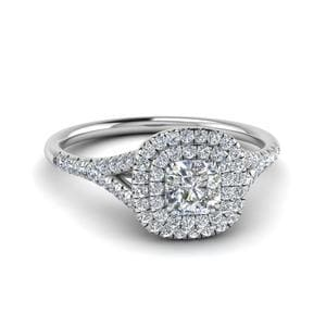 Radiant Diamond Double Halo Ring
