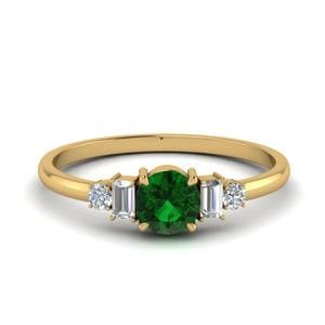 Delicate Emerald With Baguette Ring