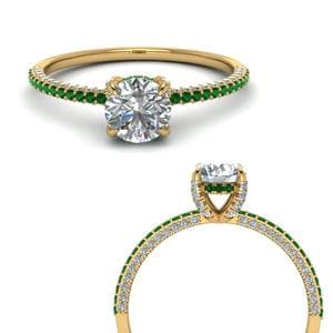 Emerald Hidden Halo Ring