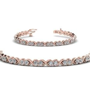 Delicate Infinity Diamond Bracelet In 14K Rose Gold