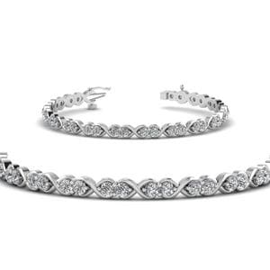 Delicate Infinity Diamond Bracelet In 18K White Gold