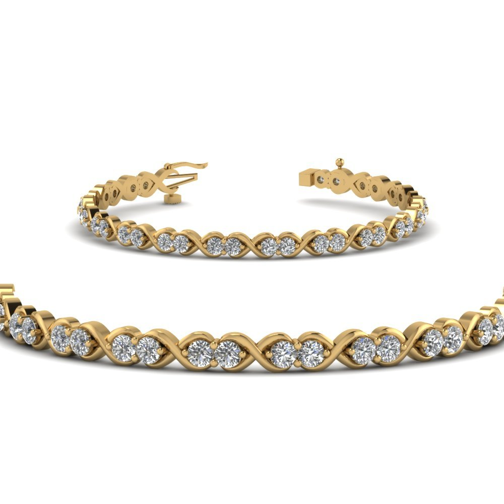 Delicate Infinity Diamond Bracelet In 18K Yellow Gold