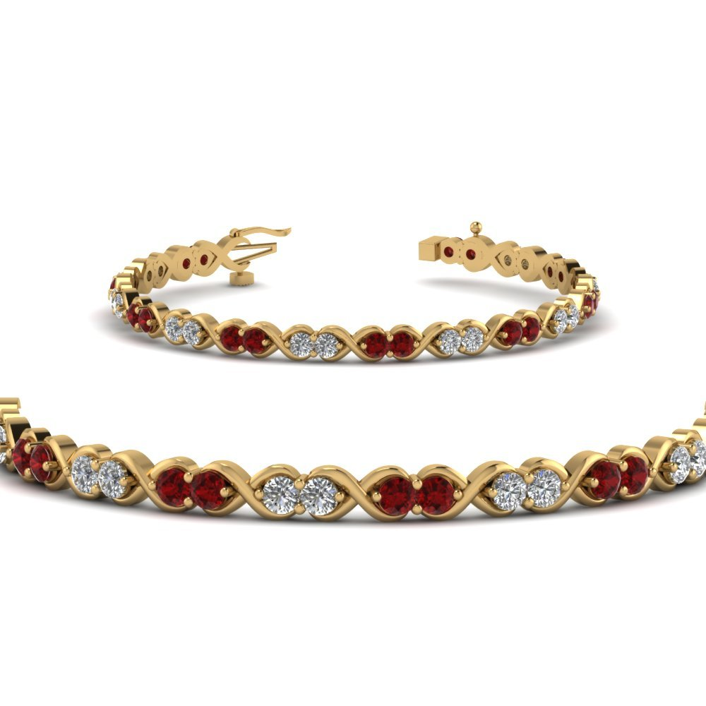 Delicate Infinity Diamond Bracelet With Ruby In 14K Yellow Gold