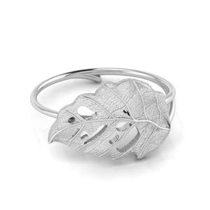 Platinum Delicate Leaf Ring