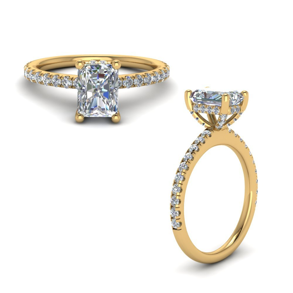 Delicate Radiant Diamond Ring For Mom In 14K Yellow Gold