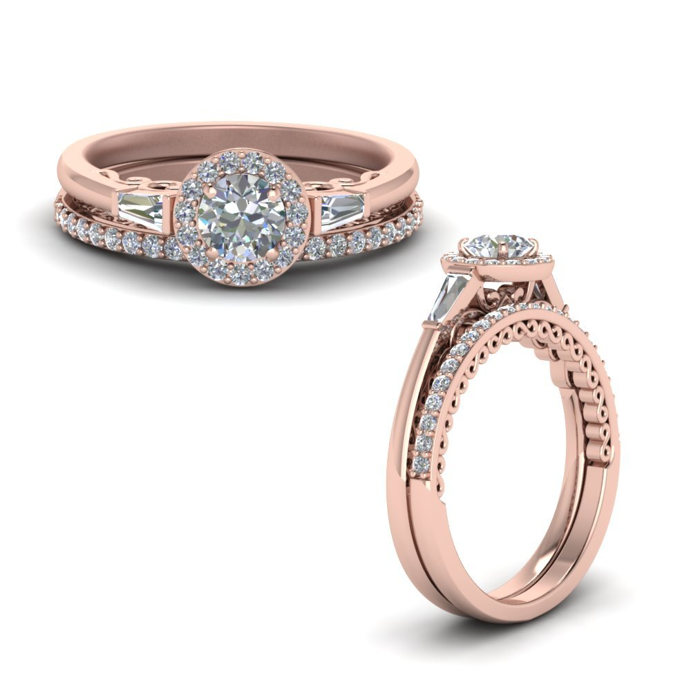 Delicate Round Halo Diamond Bridal Set And Baguette In 14K Rose Gold