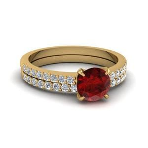 Delicate Ruby Stone Wedding Set In 14K Yellow Gold