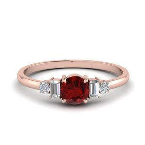 Delicate Ruby With Baguette Engagement Ring In 14K Rose Gold