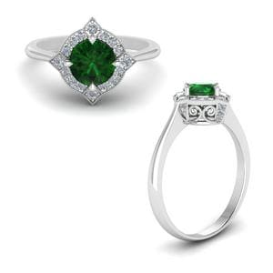 Delicate Vintage Emerald Halo Engagement Ring In 14K White Gold