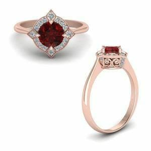 Vintage Halo Ruby Ring