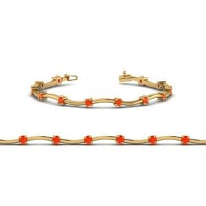 Orange Topaz Curved Bracelet