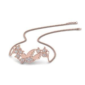 Diamond Bird Design Pendant In 14K Rose Gold