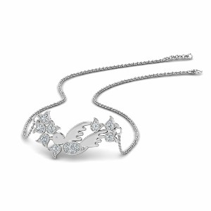 Diamond Bird Design Pendant In 950 Platinum