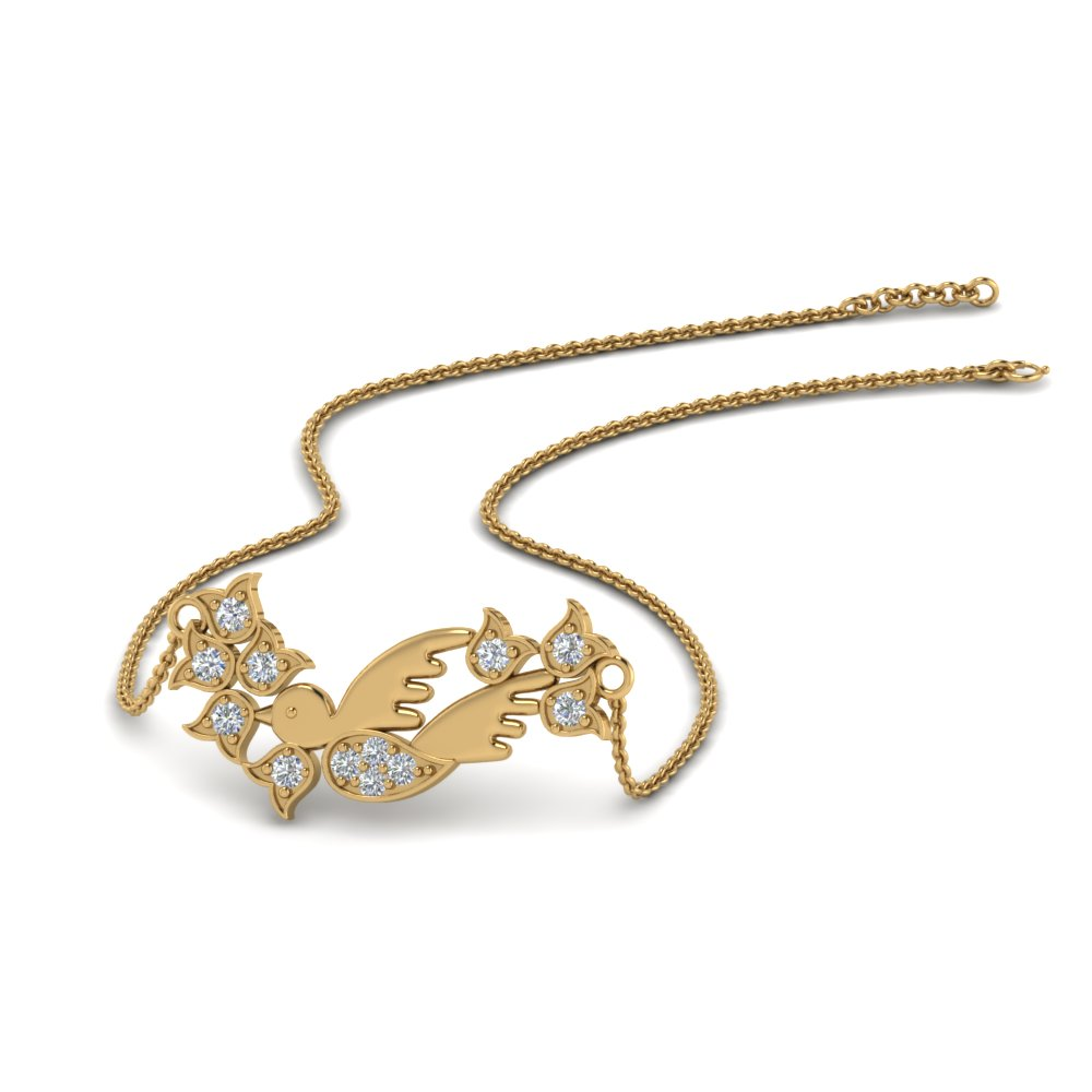 Diamond Bird Design Pendant In 14K Yellow Gold