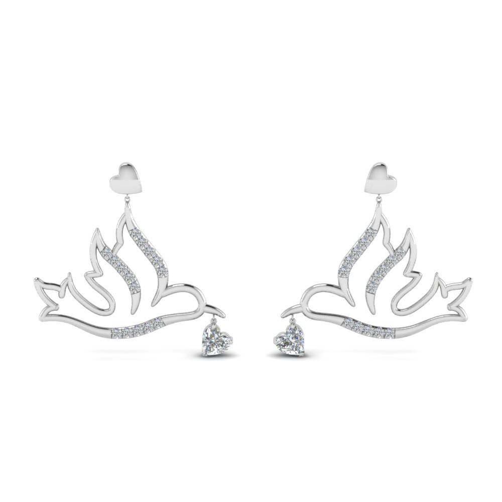 Diamond Bird Drop Earring In 14K White Gold