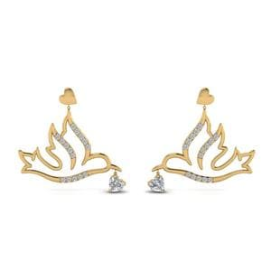 Diamond Bird Drop Earring In 14K Yellow Gold