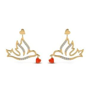 Diamond Bird Drop Earring