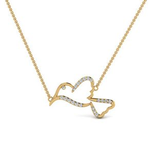 Diamond Bird Pendant Necklace In 14K Yellow Gold