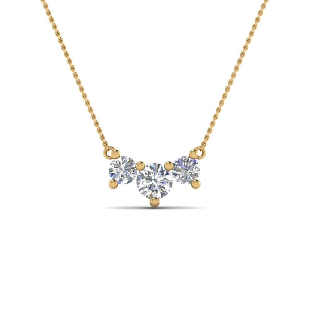 Diamond 3 Stone Pendant For Mom In 14K Yellow Gold