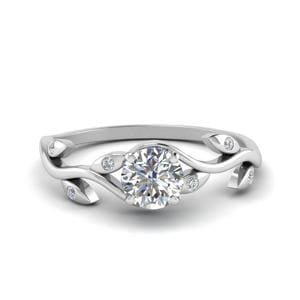 Diamond Branch Engagement Ring In 18K White Gold