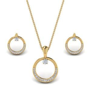 Diamond Circle Earring And Pendant