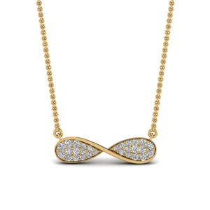 Diamond Cluster Infinity Pendant In 14K Yellow Gold
