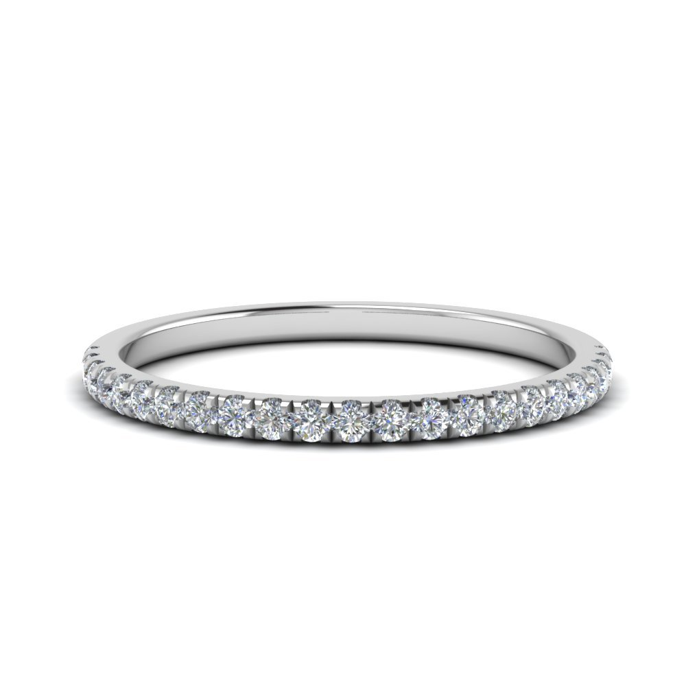 Diamond Delicate Women Weddng Band In 14K White Gold