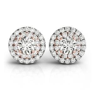 Double Halo Diamond Stud Earring