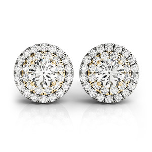Diamond Double Halo Stud Earrings