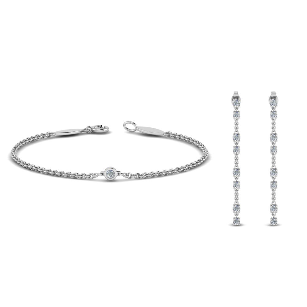 Diamond Earring With Matching Bracelet Sale