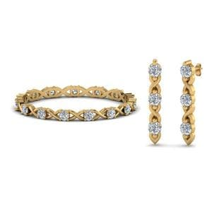 Diamond Eternity Band With Earring Sale In 14K Yellow Gold