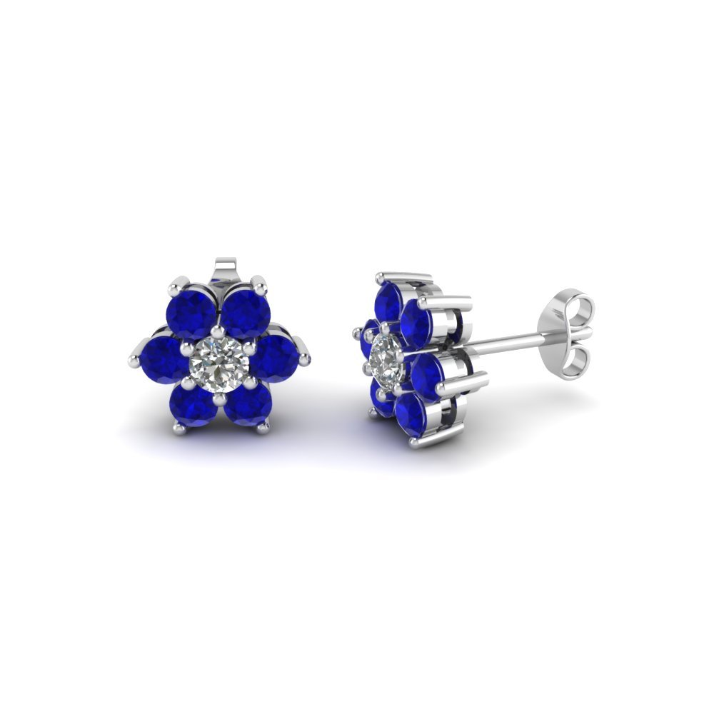 Diamond Flower Stud Women Earring With Blue Sapphire In 14K White Gold