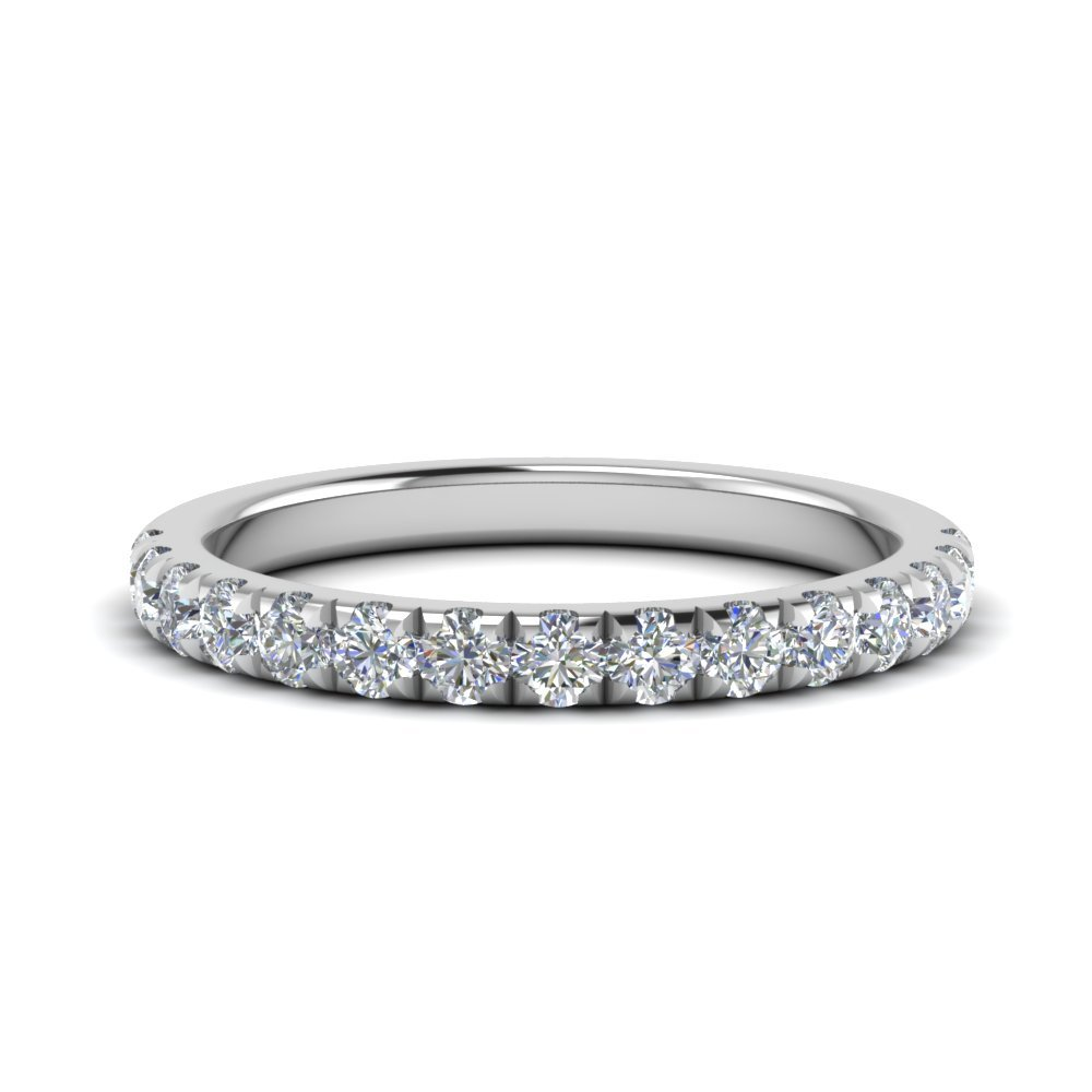 Diamond French Pave Half Eternity Band In 14K White Gold