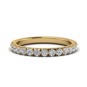 Diamond French Pave Half Eternity Band In 14K Yellow Gold