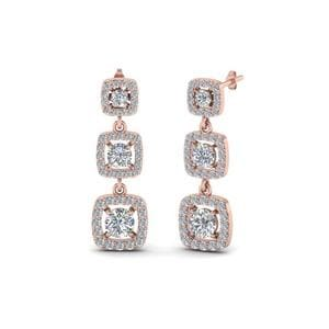 Diamond Halo Long Drop Earring In 14K Rose Gold