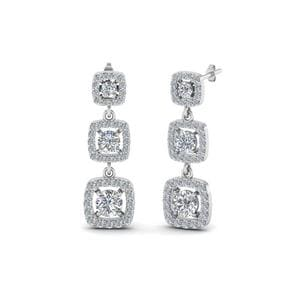 Long Drop Diamond Halo Earring