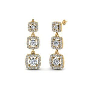 Diamond Halo Long Drop Earrings