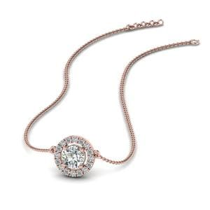 0.50 Ct. Diamond Halo Pendant Necklace In 14K Rose Gold