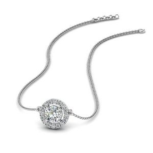 Diamond Halo Pendant Necklace In 14K White Gold