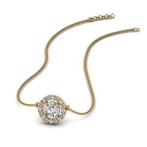 0.50 Ct. Diamond Halo Pendant Necklace In 14K Yellow Gold
