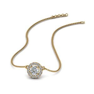 Diamond Halo Pendant Necklace In 14K Yellow Gold