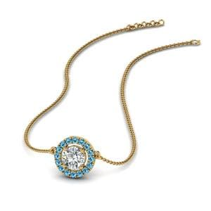Blue Topaz 0.50 Ct. Halo Pendant