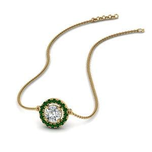 Halo Emerald Necklace Pendant