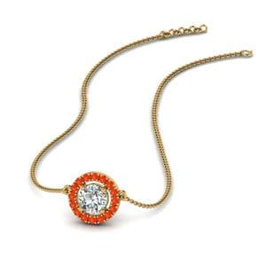 Orange Topaz Halo Pendant Necklace